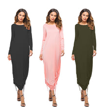 Load image into Gallery viewer, Sexy Women Dress Pocket O Neck Long Sleeve Dress Evening Party Long Dress - kats closet1