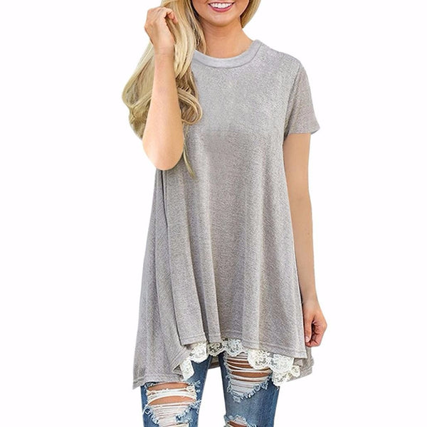 Womens Ladies Casual Lace Short Sleeve Shirt Pullover Tops Blouse - kats closet1