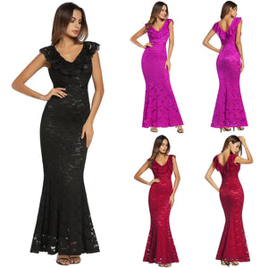 Sleeveless Floral Lace Formal Long Evening Gown Dress - kats closet1
