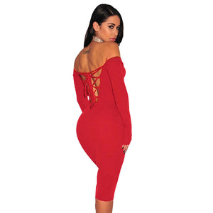 Women Clubwear Party Off Shoulder Backless Sexy Strappy Pencil Sheath Dress - kats closet1