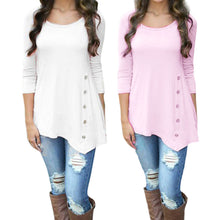 Load image into Gallery viewer, Women Long Sleeve Loose Button Trim Blouse solid color Round Neck Tunic T-Shirt - kats closet1