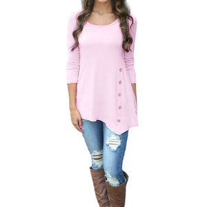 Women Long Sleeve Loose Button Trim Blouse solid color Round Neck Tunic T-Shirt - kats closet1