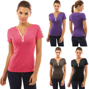 Women Ladies Sexy Casual Button V Neck T-shirt Short Sleeve Tops Blouse - kats closet1