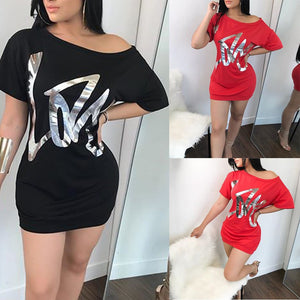 Sexy Womens Short Sleeve Golden Printed Letters Blouse TOP Ladies Mini Dress - kats closet1