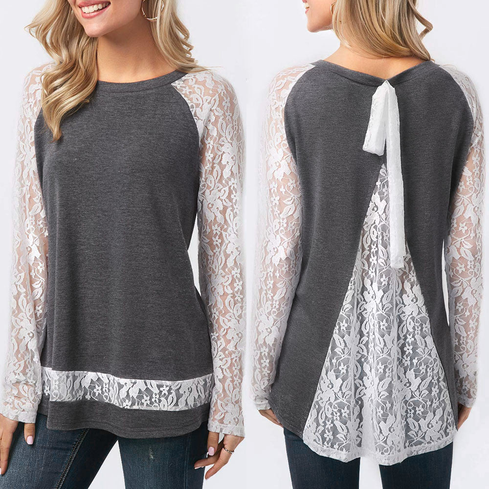 Womens Spring O Neck Behind The Lace Split Long Sleeve Blouse Tops T Shirt - kats closet1