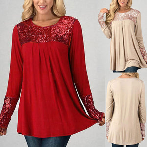 Fashion Sequins Womens Tops Long Sleeve O-Neck Casual Pullover Shirt Blouse - kats closet1