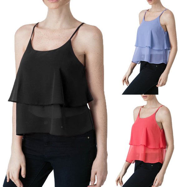 Women Girls Sleeveless Crop Tops Vest Tank Tops Blouse T-Shirt - kats closet1
