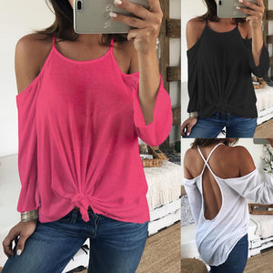 Women Sexy Off Shoulder Long Sleeve Backless Shirt Casual Blouse Tops - kats closet1
