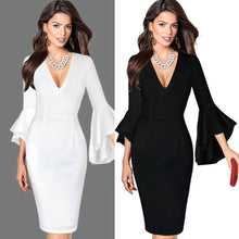 Load image into Gallery viewer, Women Sexy Deep V-neck Flare Bell Long Sleeve Office Party Bodycon Dress - kats closet1