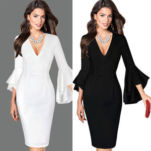Women Sexy Deep V-neck Flare Bell Long Sleeve Office Party Bodycon Dress - kats closet1