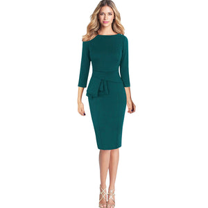 Women Elegant Frill Peplum 3/4 Gown Sleeve Work Business Party Sheath Dress - kats closet1