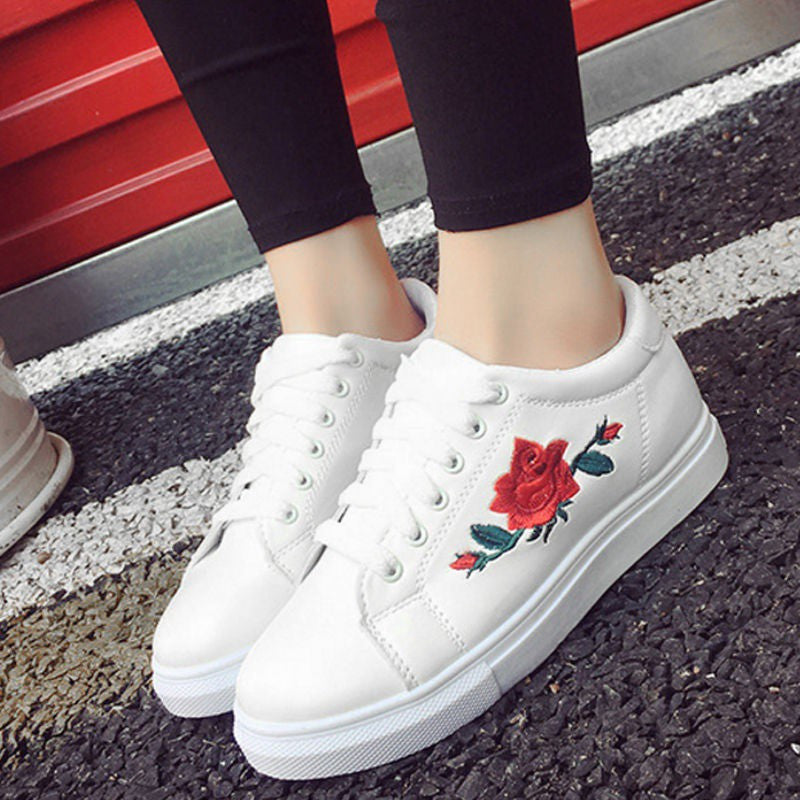 Embroidered canva shoes female white shoes flat shoes female casual shoes - kats closet1
