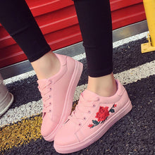 Load image into Gallery viewer, Embroidered canva shoes female white shoes flat shoes female casual shoes - kats closet1