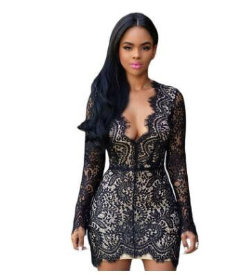 Black Lace Nude Mini Dress - kats closet1