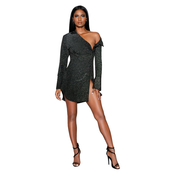 Black Sexy & Club Long Sleeve skirt Club Dresses - kats closet1