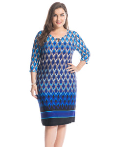 Chicwe Women's Plus Size Printed Dress Keyhole Neck with Metal Trim Border US16-26 - kats closet1