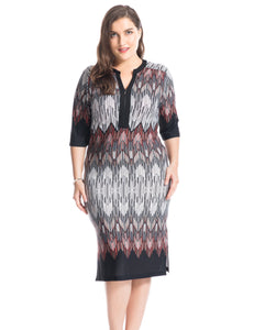 Plus Size Border Printed V-Neck Dress - kats closet1