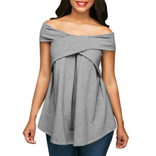 Load image into Gallery viewer, Women Off The Shoulder Short Sleeve Sweatshirt Pullover Tops Blouse Shirt - kats closet1
