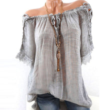 Load image into Gallery viewer, Women Short Sleeve Lacepatchwork T Shirts Off Shoulder Loose Blouse Tops Shirt - kats closet1
