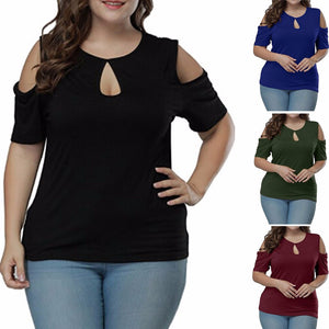 Women's Plus Size Keyhole Front Short Sleeve Top Cold Shoulder T Shirt Blouse - kats closet1
