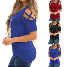 Load image into Gallery viewer, Women Summer Short Sleeve Strappy Cold Shoulder T-Shirt Tops Blouses - kats closet1