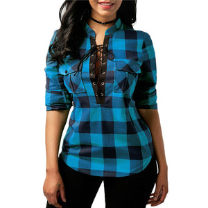 Women's Plaid Cross Bandage Pocket Long Sleeve O-Neck T-Shirt Tops Blouse - kats closet1