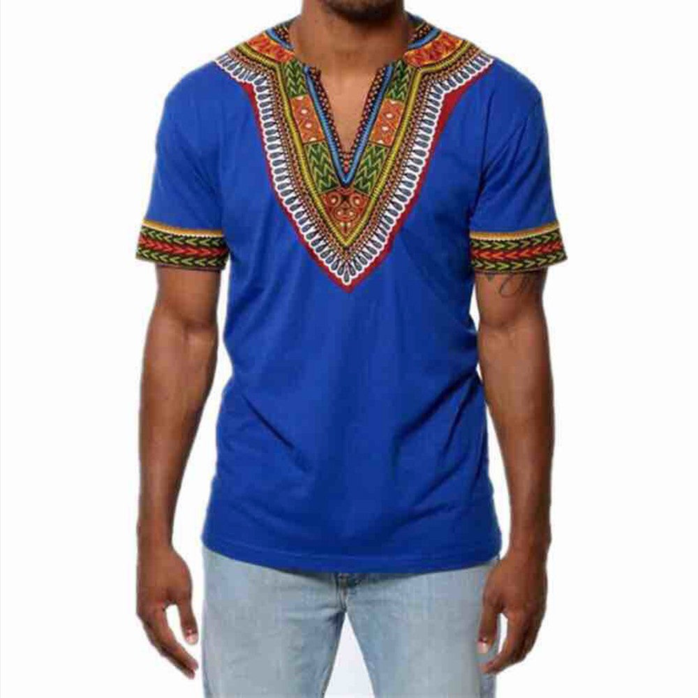 Men's Slim Fit V Neck Printed African Muscle Tee T-shirt - kats closet1