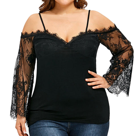 Large Size Women Off Shoulder T-Shirt Lace Long Sleeve Casual Tops Blouse