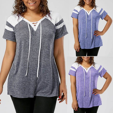Fashion Plus Size Womens Short Sleeve Lace Up Raglan Sleeve Tops Blouse T-Shirt - kats closet1