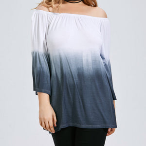 Plus Size Off Shoulder Dip-Dye Blouse - kats closet1
