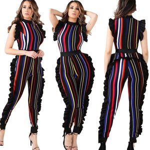 Sleeveless Ruffled Colorful Striped Jumpsuit - kats closet1