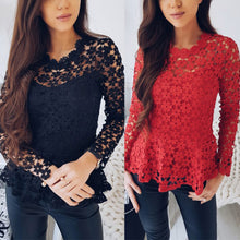 Load image into Gallery viewer, Women Flowers Lace Long Sleeve Tops O Neck Hollow Blouse T Shirt Tee - kats closet1