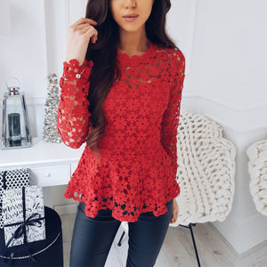 Women Flowers Lace Long Sleeve Tops O Neck Hollow Blouse T Shirt Tee - kats closet1