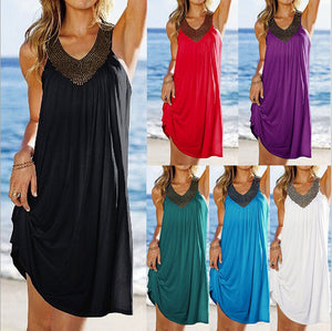 V Neck Sexy Beach Dress - kats closet1