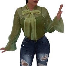 Load image into Gallery viewer, Women Summer Nail Bead Transparent Fashion Tops Long Sleeve Shirt Blouse - kats closet1