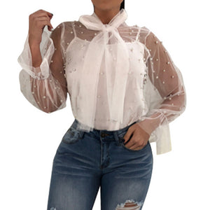Women Summer Nail Bead Transparent Fashion Tops Long Sleeve Shirt Blouse - kats closet1