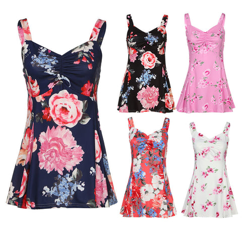 Women Summer Sleeveless Floral Vest Ladies Casual Blouse Tank Tops T-Shirt
