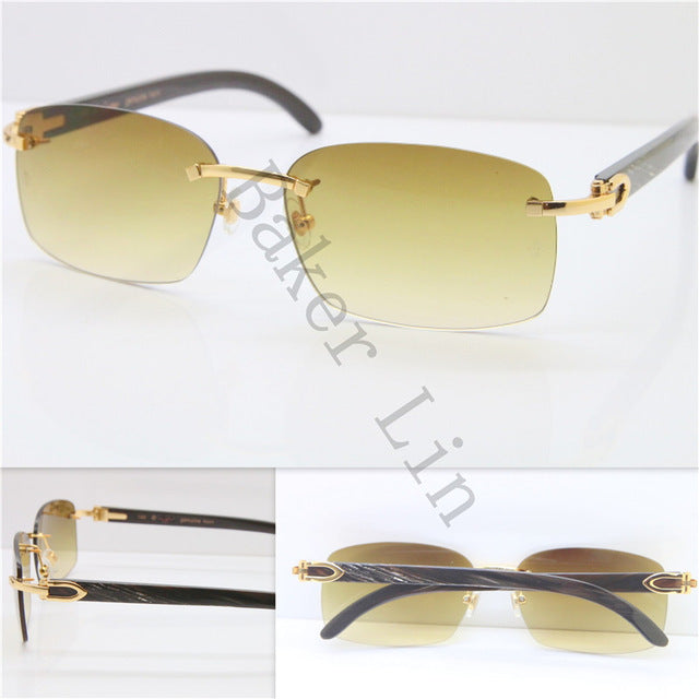 RIMLESS Genuine Black Mix Gray Buffalo Horn Unisex Luxury Brand Sunglassess Good Quality Glasses Limited edition - kats closet1