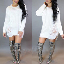 Load image into Gallery viewer, Puseky 2017 Women Autumn Winter Long Sleeve Knitted Sweater Dress Sexy Lady Hole Irregular Party Mini Dress Knitwear Dressess - kats closet1