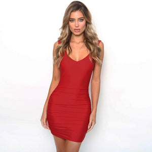 Sleeveless Drape Tight Club Party Dress - kats closet1