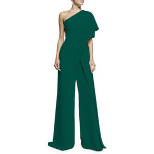Ruffle One Shoulder Asymmetrical Wide Leg Jumpsuit - kats closet1