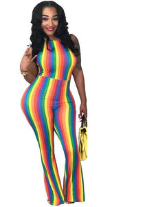 Rainbow Vertical Striped Sleeveless Jumpsuit - kats closet1