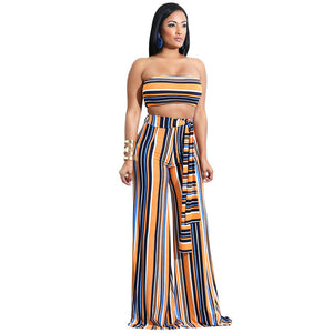Off Shoulder 2 Piece Striped Jumpsuit - kats closet1
