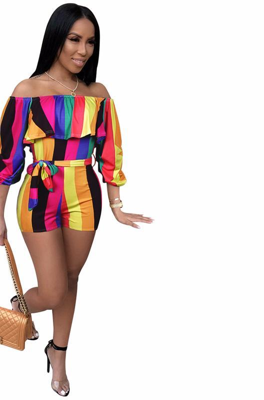 76b0fe3bc0e3 SexeMara Rainbow Stripe Bodycon Short Jumpsuits for Women 2018 Summer Off  Shoulder Ruffle Backless Romper Sexy Playsuit D35-AD53