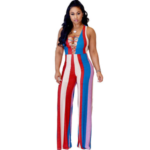 off shoulder striped sexy Long jumpsuit - kats closet1