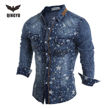 Load image into Gallery viewer, Hot Sell Men Shirt Luxury Brand 2018 Male Long Sleeve Shirts Casual Mens Denim printing Slim Fit Dress Shirts Mens Hawaiian 2XL - kats closet1