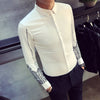 Hot Men Tuxedo Shirt 2018 Spring New Print Slim Fit Party Dress Shirts Long Sleeve Night Club Social Men's Shirts Black/White - kats closet1