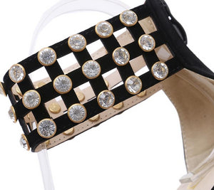 Rhinestone High Heel Pointed Ankle Strap Shoes