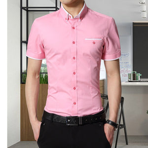 2017 New Arrival Brand Men's Summer Business Shirt Short Sleeves Turn-down Collar Tuxedo Shirt Shirt Men Shirts Big Size 5XL - kats closet1