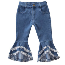 Load image into Gallery viewer, Girls Flare Denim Tassel Jeans
